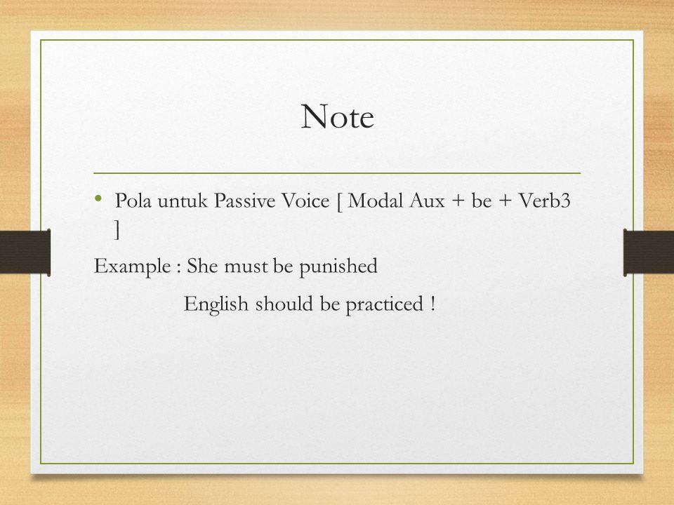 Note Pola untuk Passive Voice [ Modal Aux + be + Verb3 ]